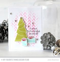 Trim the Tree, Trim the Tree Die-namics, Wonky Chevron Stencil - Julia Stainton  #mftstamps