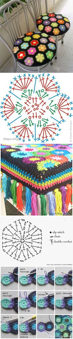 New crochet granny square diagram african flowers Ideas Crochet Diagram, Crochet Chart, Crochet Motif, Crochet Doilies, Crochet Mandala, Crochet Blocks, Crochet Squares, Crochet Granny, Granny Squares