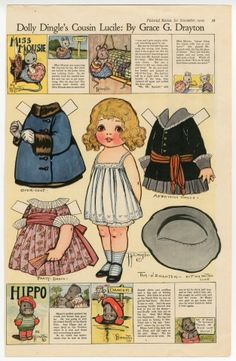 """Dolly Dingle's Cousin Lucile paper doll 1919 Illustrator and artist Grace Drayton had made a name for herself by the time she created the Dolly Dingle paper doll series for """"Pictorial Review"""" magazine in 1913."""