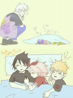 Little team 7 and kakashi Naruto Team 7, Naruto And Sasuke, Anime Naruto, Naruto Comic, Naruto Fan Art, Kakashi Sensei, Naruto Cute, Naruto Shippuden Sasuke, Sakura And Sasuke
