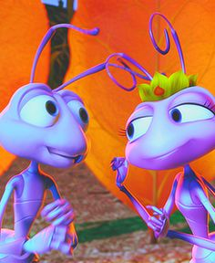 Dave Foley and Julia Louis-Dreyfuss as the voices of Flik & Atta in A Bug's Life Old Disney, Disney Love, Disney Magic, A Bugs Life Characters, Cartoon Characters, Walter Elias Disney, Disney Pixar Movies, A Bug's Life, Disney Couples
