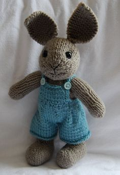 Hand-Knit Boy Easter Bunny Stuffed Toy with Overalls. $40.00, via Etsy.