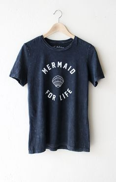 """- Description Details: 'Mermaid For Life' relaxed tee in acid wash black. Brand: NYCT Clothing. Measurements: (Size Guide) S: 37"""" bust, 25.5"""" length M: 40"""" bust, 26.0"""" length L: 44"""" bust, 26.5"""" length"""