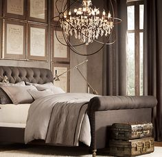 Foucault's Orb Crystal Chandelier Rustic Iron Extra-Large | Ceiling | Restoration Hardware