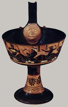 One–handled kantharos, ca. 500 b.c.; Archaic Attributed to the Class of the One–Handled Kantharoi Greek, Attic Terracotta; H. 11 3/8 in. (28.9 cm)