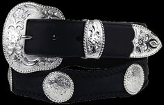 Silver City Western Concho Leather Scalloped Belt