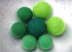 7 felt beads - set of wet felted beads in graduating sizes and shades of green