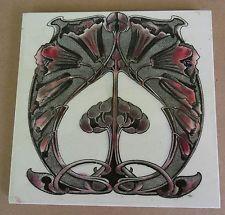 """Original English transfer print Art Nouveau tile , c1904/5 6""""x6""""Tile 1195"""