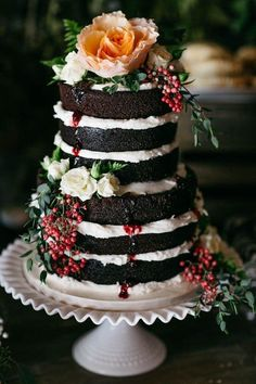 Naked three tier winter inspired wedding cake
