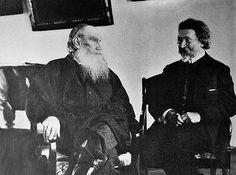 """Léon Tolstoï et Ilya Repine (peintre russe """"ambulant"""" / Veules-les-roses)"""