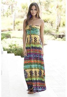 Tribal Print Bandeau Maxi Dress♥