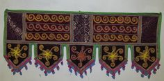 COTTON VELVET WINDOW VALANCE TOPPER HAND EMBROIDERY DOOR DECOR HANGING TORAN VR4 #Handmade