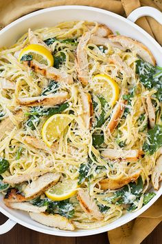 Try this with rice noodles: Lemon Ricotta Parmesan Pasta with Spinach and Grilled Chicken - Cooking Classy Parmesan Pasta, Lemon Chicken Pasta, Lemon Pasta, Grilled Chicken Pasta, Spaghetti Squash With Chicken, Spaghetti Squash Recipes, Spinach Stuffed Chicken, Chicken Recipes, Meat Recipes