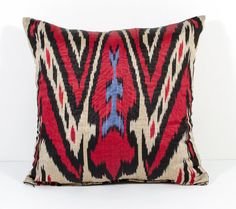 15x15 ikat pillow cover red black blue ikat cushion by SilkWay