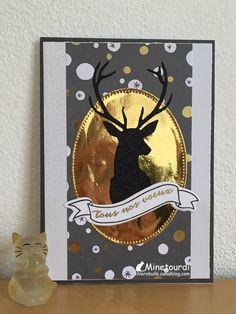 Carte de Bonne Année. Diy Christmas Cards, Christmas Deer, Christmas Crafts, Horse Cards, Stag Head, Scrapbook Cards, Scrapbooking, Card Making Techniques, Winter Cards