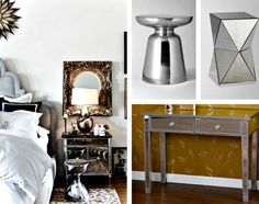 Mirrored furniture: mirrored end tables and console table / / www.LookNook.co