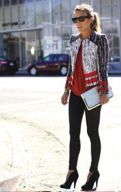 20 Perfect Fashion Styles (cool jacket, heels, red, black, gray white)