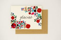 Destination Wedding Thank You Cards - Gracias - Colorful Mexican Embroidery Inspired – Summer Wedding Card (Rachel Suite)