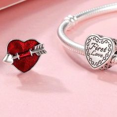 """""""First Love"""" red enamel 925 sterling silver heart charm Infinity Symbol, Love Charms, Feeling Special, Heart Charm, True Love, First Love, Heart Ring, Enamel, Gems"""