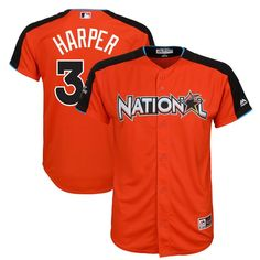 a171701138c Bryce Harper National League Majestic Youth 2017 MLB All-Star Game Home Run  Derby Jersey - Orange. Washington NationalsBuster PoseyDodgers ...