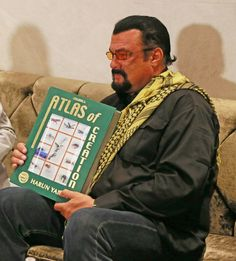"Esteemed Actor Steven Seagal with Esteemed Adnan Oktar's Book (Harun Yahya) ""Atlas of Creation"""