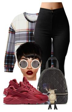 """""""RED"""" by chiamaka-ikaraoha ❤ liked on Polyvore featuring Finders Keepers, Lime Crime, MICHAEL Michael Kors, NIKE and Marc by Marc Jacobs"""