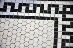 Tile Work in bungalow in West Adams neighborhood Hardwood Tile, Linoleum Flooring, Brick Flooring, Floors, Terrazzo Flooring, Art Deco Bathroom, Bathroom Floor Tiles, 1920s Bathroom, Entryway Flooring