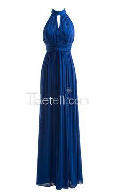 Hot A-line Chiffon High Collar Long Bridesmaid Dresses Ruched Empire Keyhole
