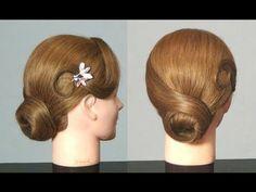 Прическа на средние волосы: Пучок. Elegant updo hairstyle - YouTube