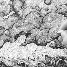 Pen and ink art. Ink Illustrations, Illustration Art, Abstract Line Art, Ink Pen Drawings, Black And White Illustration, Pen Art, Gravure, Teaching Art, Art Sketchbook