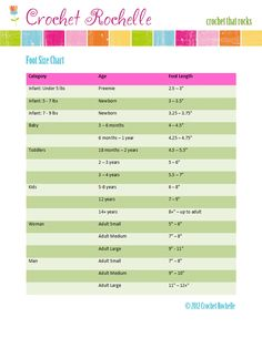 foot size chart for crochet items