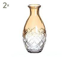 Set de 2 botellas de cristal, dorado - altura 16,5 cm