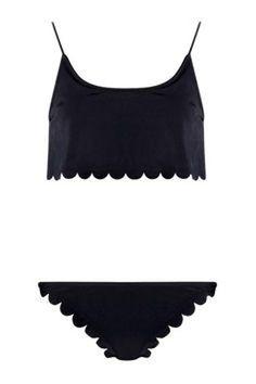 Affordable and cute swimwear for summer— Boohoo scallop edge bikini