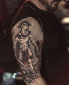 """Last Rites Tattoo Theatre on Instagram: """"Work in progress by @darwinenriquez #lastritestattoo #warrior #realistictattoo #nyc #darwinenriquez"""""""