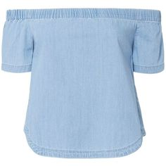 3X1 Women's Clark Off-The-Shoulder Crop Top (669.105 COP) ❤ liked on Polyvore featuring tops, blusas, denim, elastic top, sweater pullover, pullover top, blue off shoulder top and off shoulder crop top