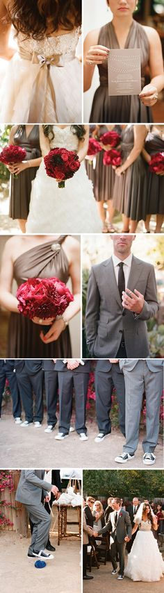 Red and Gray wedding! Love the Converse shoes too!