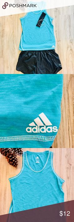 🆕Women's Adidas Tank Top size large. This Adidas tank top is in excellent condition with no signs of wear or tear. This shirt is a size large in women's only worn once. It is a teal/green mix with fast shipping available. Perfect for any workout or casual wear. Please feel free to ask questions. 😊 adidas Tops Tank Tops