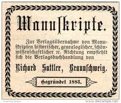 Original-Werbung/ Anzeige 1901 - MANUSKRIPTE / RICHARD SATTLER BRAUNSCHWEIG -  ca. 50 X 40 mm
