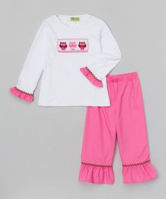 Another great find on #zulily! White Owl Smocked Tee & Pants - Infant, Toddler & Girls #zulilyfinds