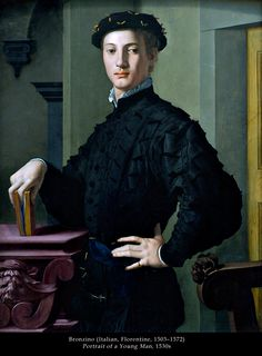 The Portrait of a Young Man by Angolo Bronzino recreates he ideal man. The young man in this portrait is not a soft individual. He displays confidence, and his posture displays a no nonsense attitude ideal for a man in the Renaissance. Renaissance Kunst, Renaissance Portraits, Italian Renaissance, Renaissance Paintings, Renaissance Fashion, Renaissance Clothing, Mr. Bean, Caricature Artist, Penguin Classics