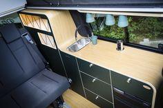 Vw Transporter Camper, T5 Camper, Sprinter Camper, Van Conversion Layout, Camper Conversion, Single Burner Stove, Tall Sideboard, Camping Heater, Van Vw