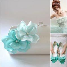 Light Blue, Aqua, Mint and Off white -  Something Blue - Spring Wedding / Small Bridesmaid clutch / Prom clutch. $20.00, via Etsy.