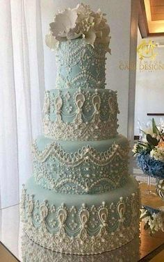 Light Blue Lace Cake – the detailing though! Light Blue Lace Cake – the detailing though! Amazing Wedding Cakes, Unique Wedding Cakes, Unique Cakes, Elegant Cakes, Wedding Cake Designs, Amazing Cakes, Cake Wedding, Wedding Ideas, Wedding Recipe