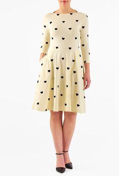 I <3 this Heart embellished cotton knit dress from eShakti