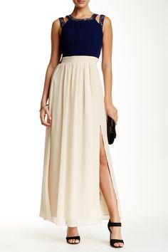 Embellished Colorblock Chiffon Maxi Dress by Little Mistress on @HauteLook