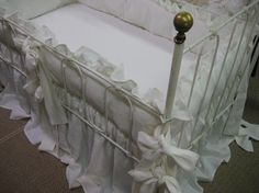 Southern Style Ruffled Washed Linen Crib by cottageandcabin, $575.00