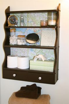 The Gingerbread Blog: Map Lined Shelves // Tutorial - i like this one map, the color, i don't like the cabinet style.