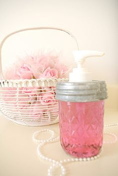 DIY::  One Drop pink food coloring + clear liquid soap in clear dispenser = Sweet Shabby Pink Soap !