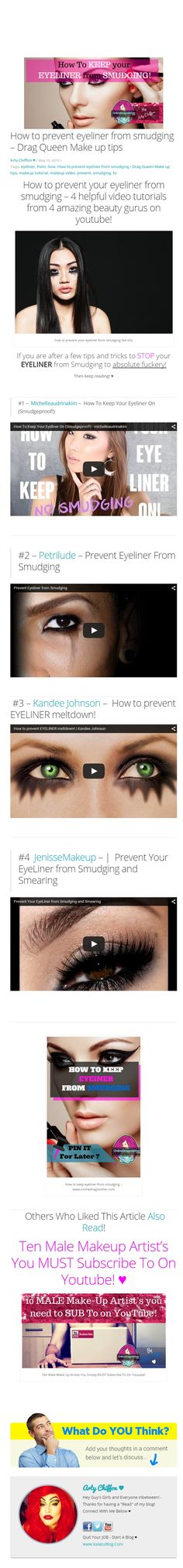 How to prevent eyeliner from smudging - Drag Queen Make up tips Drag Queen Makeup, Drag Makeup, Makeup Tips, Smudging, Helpful Hints, Eyeliner, Make Up, Beauty, Useful Tips