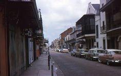 35mm Slide New Orleans Street Scene 1963 Bourbon St Peter Cars Restaurants